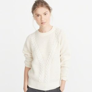 Abercrombie & Fitch Airspun Cable Crewneck Sweater